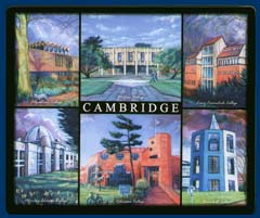 Mouse mat of Cambridge - Fitzwilliam, Wolfson, Lucy Cavendish, Murray Edwards, Robinson and Churchill Colleges