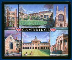 Mouse mat of Cambridge - Trinity, Christs, Kings, Pembroke, Emmanuel and Downing Colleges