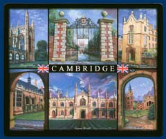 Mouse mat of Cambridge - King's, Jesus, Sidney Sussex, Peterhouse, Corpus Christi and Pembroke College