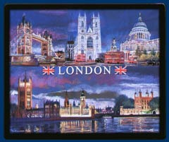 mouse mat of London at night - Tower Bridge, Westminster Abbey, St Pauls Cathedral, Tower of London and Palace of Westminster