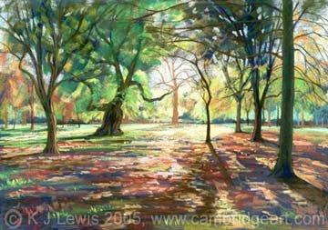 Painting Of Woodland Gardens In Autumn Bushy Park Middlesex Also Prints Cards E Cards Fridge Magnets And Keyrings