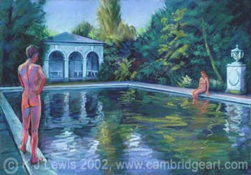 Painting of bathing pool at christs college university of cambridge prints cards fridge Swimming pools in cambridge uk