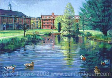 Painting Of The Paddock Emmanuel College University Of Cambridge Prints Cards Fridge