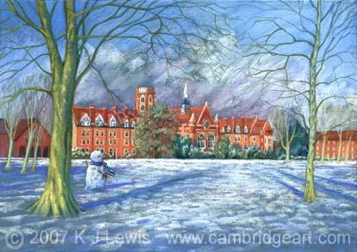 Painting of Homerton College in the Snow, Cambridge University